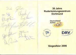 Faltprospekt / 30 Jahre Ruderleistungszentrum Dortmund, Deutschland Achter, Ruderclub Hansa Dortmund, DRV Deutscher Ruderverband / Siegesfeier 2006 / Innenteil: Kaltes und warmes Buffett, Programm u.a. Die Medaillengewinner der Weltmeisterschaft 2006 vorg