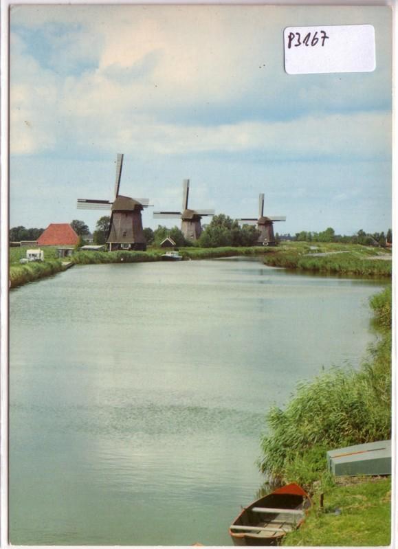 AK Niederlande Schermerhorn Poldermolens uit de Gouden Eeuw Strijkmolens ungelaufen 0