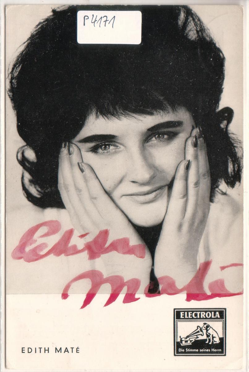 Autogrammkarte Edith Mate signiert ungelaufen umseitig Diskographie