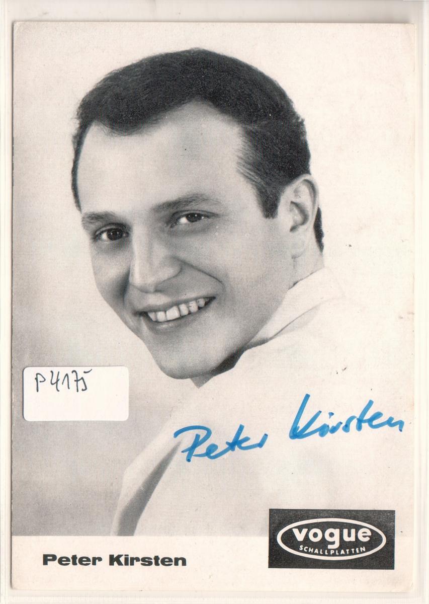 Autogrammkarte Peter Kirsten signiert ungelaufen umseitig Diskographie