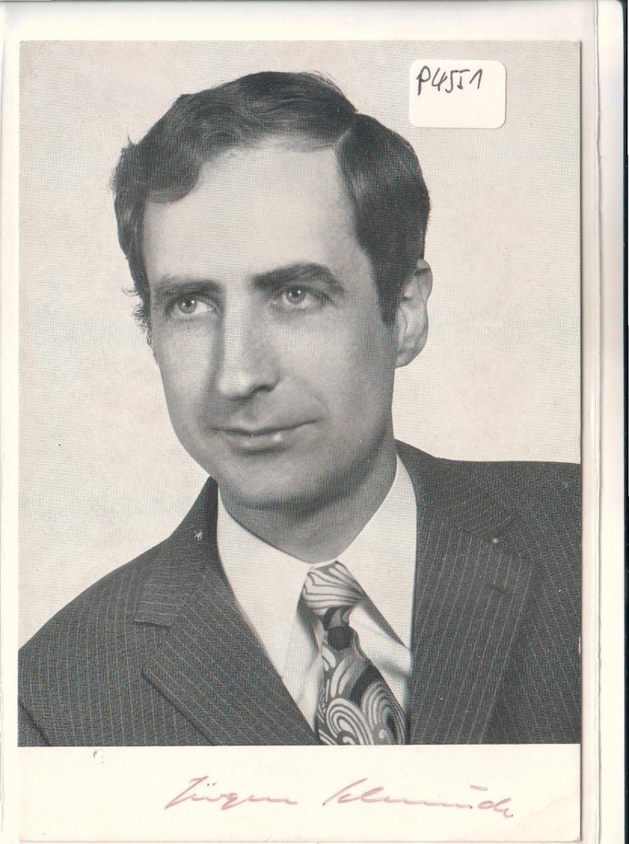 Autogrammkarte Dr. Jürgen Schmude signiert, SPD, umseitig Kurzbiographie