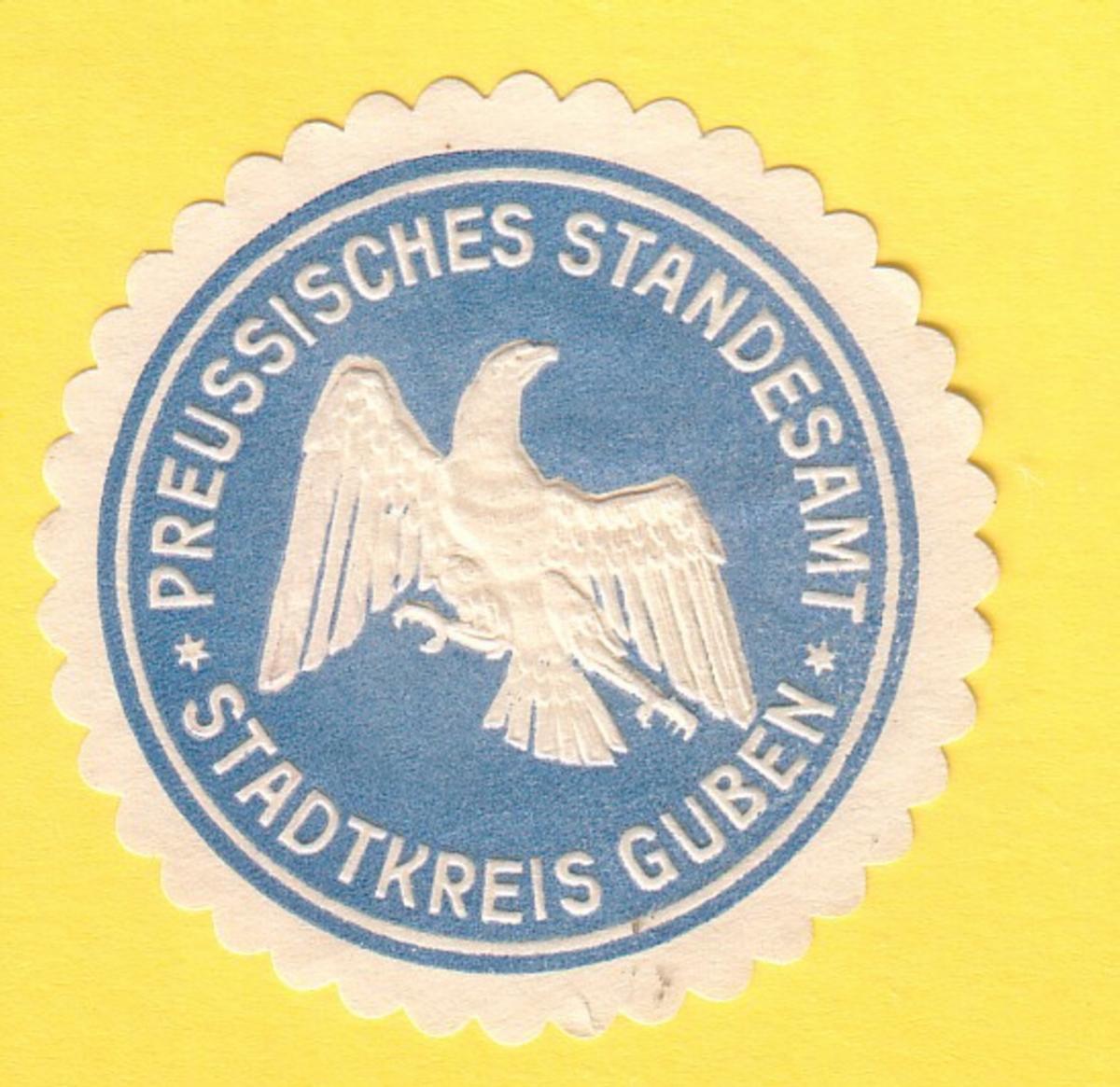 Siegelmarke Preussisches Standesamt Stadtkreis Guben
