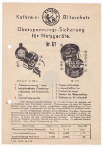 Kathrein Blitzschutz Störschutz 1932 Werbeblatt DRGM Überspannung Netzgeräte - Kathrein-Blitzschutz. Überspannungs-Sicherung für Netzgeräte Nr. 172. Mit Abbildungen und Bezeichnungen sowie Preisangaben. Randhinweis: Pr. 172. 30000. 24. 8. 32.