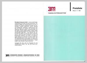 3M Tageslichtprojektoren Preisliste 1966 Projektor Düsseldorf Minnesota Mining. 3M Minnesota Mining & Manufacturing Co. mbH, Düsseldorf. Innen mit zwei Abbildungen illustriert!