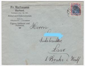 Briefumschlag, 1922 postalisch gelaufen. Firmenaufdruck: Fr. Rottmann Herford Fernsprecher Nr. 601 Möbel und Dekorationen. Feinste Offenbacher Lederwaren. Eigene Sattlerei und Polsterei