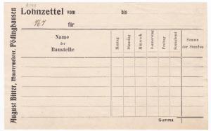 Summa - Lohnzettel der Firma August Bitter, Maurermeister aus Pödinghausen. Name der Baustelle konnte neben anderen Parametern eingetragen werden.