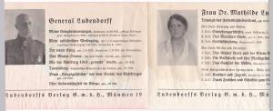 Werbeblatt Verlagswerbeblatt Ludendorffs Verlag GmbH, München 19. Mit verzeichneten Werken von General Ludendorff sowie seiner Frau Dr. Mathilde Ludendorff. Preisangaben in Reichsmark - Bestellschein unausgefüllt.