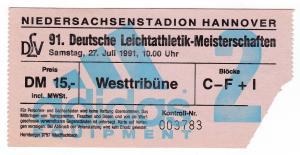 Eintrittskarte 91. Deutsche Leichtathletik-Meisterschaften Hannover DLV 1991