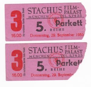 Eintrittskarte Stachus Film-Palast München 1955 5. Reihe Parkett Filmpalast