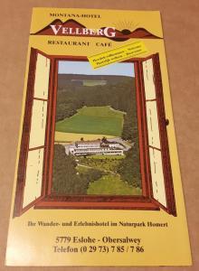 Faltprospekt MONTANA-HOTEL Vellberg Restaurant Cafe - Ihr Wander- und Erlebnishotel im Naturpark Homert 5779 Eslohe Obersalwey