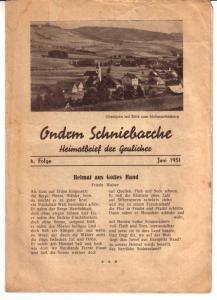 Ondrm Schniebarche - Heimatbrief der Grulicher / 6. Folge Juni 1951 - Front: Oberlipka mit Blick zum Muttergottesberg und Gedicht von Frieda Walter (Heimat aus Gottes Hand)