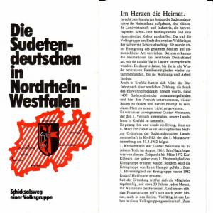 Faltprospekt: Die Sudetendeutschen in Nordrhein-Westfalen / Schicksalsweg einer Volksgruppe - Herausgeber: Sudetendeutsche Landsmannschaft, Landesgruppe NRW e.V., Manuskript: Walter Hofmann, Redaktion: Dr. Günter Reichert, Vertrieb: Ernst Hampel, Krefe...
