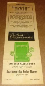 Lesezeichen mit Werbung der Stadtbücherei Hemer auf der einen, sowie der Sparkasse des Amtes Hemer auf der anderen Seite - Zahlen: B 5.000 12.60