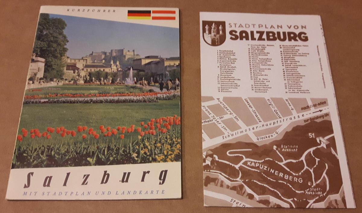 Salzburg - Kurzführer - Mit Stadtplan und Landkarte [auf einer Faltkarte anbei, eine Seite Landkarte, andere Seite Stadtplan, randständig auf Landkartenseite kl. Werbeanzeigen] 0