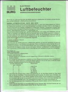 BURG - Electronic Luftbefeuchter Gebrauchsanweisung