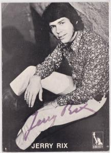 Autogrammkarte Jerry Rix signiert, umseitig Diskographie, Liberty Schallplatten