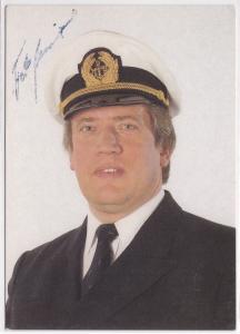 Autogrammkarte Fiete Münzner signiert, Lieder der Meere mit dem Kapitän der guten Laune, umseitig Diskographie