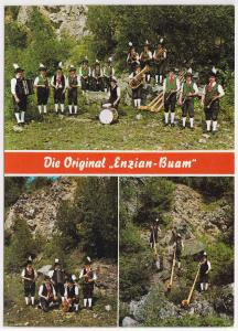 AK Autogrammkarte Die Original Enzian-Buam, umseitig mehrere Unterschriften/Signaturen, ungelaufen