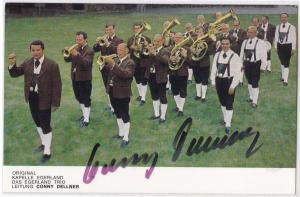Autogrammkarte Original Kapelle Egerland, Das Egerland Trio, Leitung Conny Dellner signiert, umseitig Diskographie