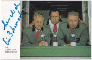 Autogrammkarte Die 3 Lustigen Moosacher signiert, umseitig Diskographie