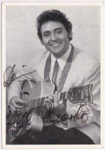 Autogrammkarte Hell Recardo signiert, umseitig Diskographie, auf Resto-Platten