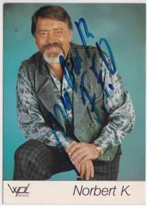 Autogrammkarte Norbert K. signiert, umseitig Diskographie, wpl records