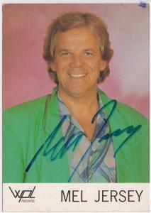 Autogrammkarte Mel Jersey signiert, umseitig Diskographie, wpl records