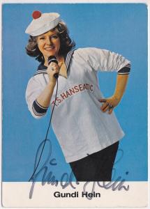 Autogrammkarte Gundi Hein signiert, umseitig Diskographie