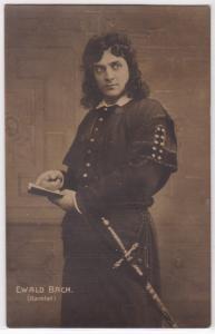 AK Ewald Bach, Hamlet Theater Szene Stummfilm, 1906 gelaufen