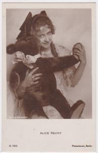 AK Alice Hechy mit Teddybär, Bildnis von A. Binder Berlin, ungelaufen