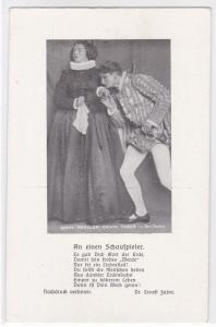 AK Emmy Pregler und Erwin Faber in Don Carlos, An einen Schauspieler von Dr. Ernest Faber, ungelaufen