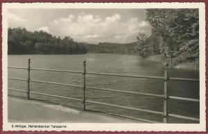 AK E.-Milspe, Ennepetal-Milspe 1951, Gevelsberg, Blick vom Gasthof Heilenbecker Talsperre, Inh. Wwe. K. Burgmann, ungelaufen
