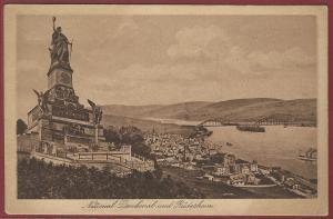 AK National-Denkmal und Rüdesheim, 1924 gelaufen