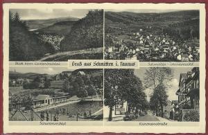 AK Gruß aus Schmitten i. Taunus, Mehrbildkarte, Schwimmbad, Kanonenstraße, ungelaufen