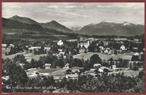 AK Bad Heilbrunn, Bayr. Alpen, Ortsansicht, Panorama mit Bergbezeichnungen, ungelaufen