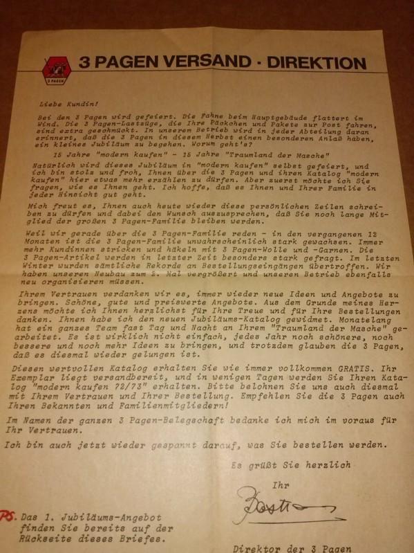 Firmenwerbung / Firmenschrift - 3 Pagen Versand und Handels GMBH 51 Aachen - Vorderseite mit Werbung für Handtücher in hervorragender Frottierqualität, Rückseite mit Brief an die Kundin bzgl. Jubiläumsangebot auf der Rückseite (= die Handtücher) 0