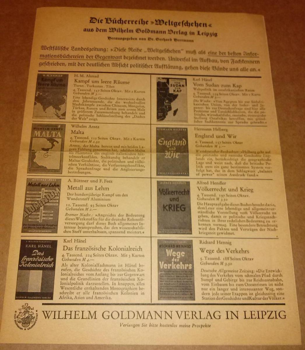 Werbeprospekt - Die Bücherreihe  aus dem Wilhelm Goldmann Verlag in Leipzig - herausgegeben von Dr. Gerhard Herrmann. Preisangabe in M (Mark). 0