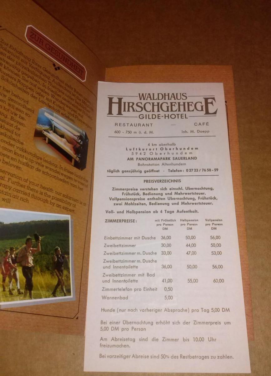 Waldhaus Hirschgehege Gilde-Hotel / Hotel Restaurant Cafe Am Panorama-Park Sauerland 5942 Kirchhundem-Oberhundem / Sprachen: deutsch, englisch, niederländisch - ANBEI Preisliste (Inh. M. Doepp) 1