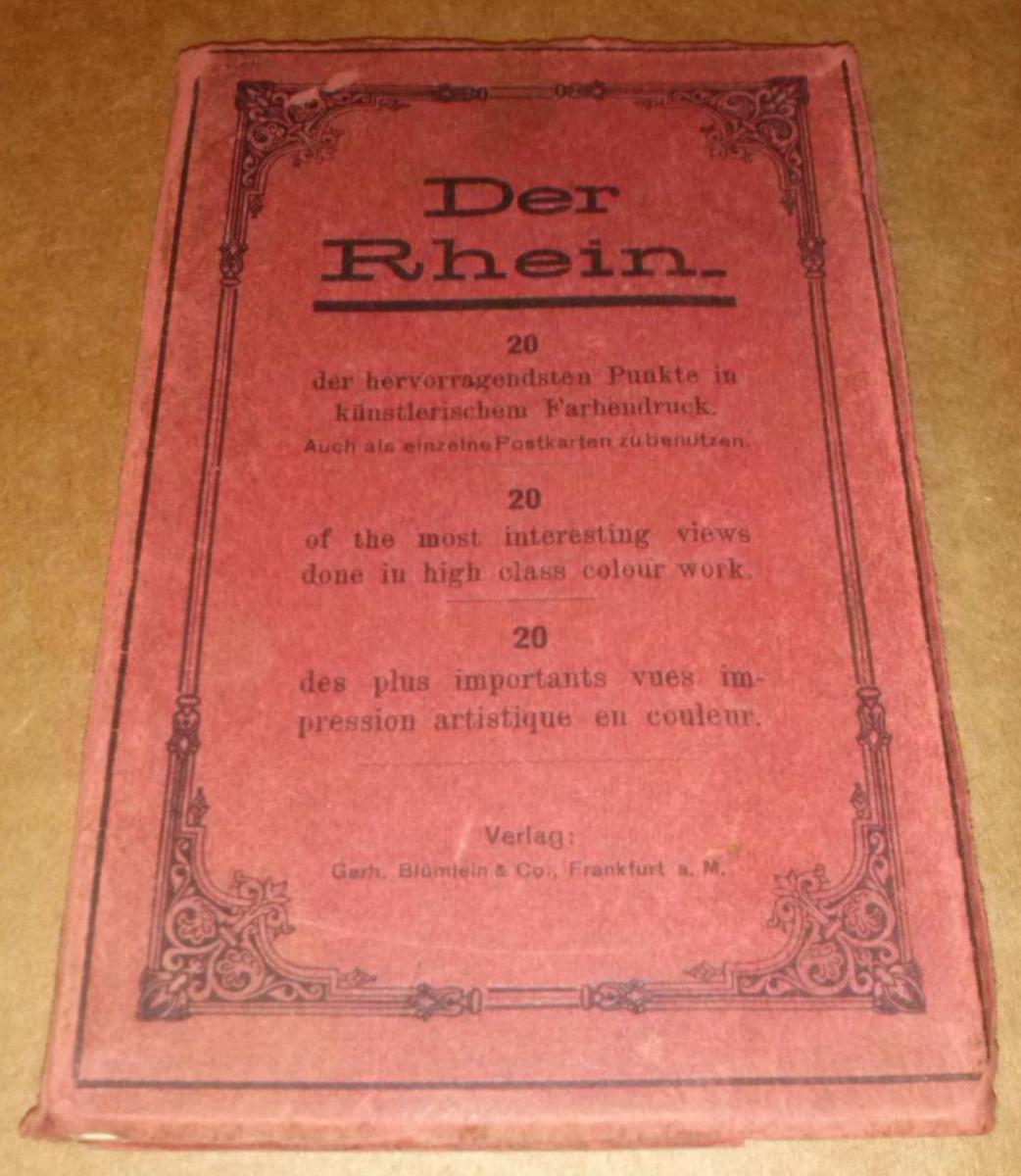 Der Rhein - 20 der hervorragendsten Punkte in künstlerischem Farbendruck. Auch als einzelne Postkarten zu benutzen (Titel in engl.+fra. Sprache vorne auf Front) - Leporello-Album mit ill. OVP/OPbd. - Leporello ist leider in zwei Teilen vorhanden, alle ... 0