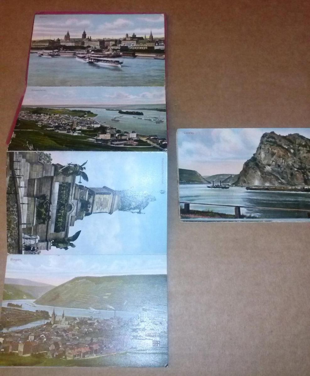 Der Rhein - 20 der hervorragendsten Punkte in künstlerischem Farbendruck. Auch als einzelne Postkarten zu benutzen (Titel in engl.+fra. Sprache vorne auf Front) - Leporello-Album mit ill. OVP/OPbd. - Leporello ist leider in zwei Teilen vorhanden, alle ... 2
