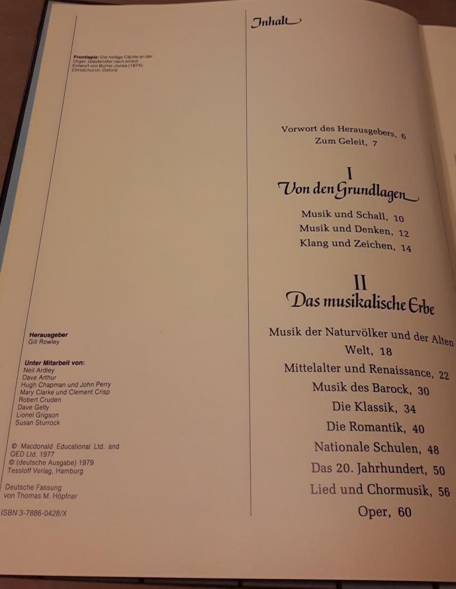 Das neue Buch der Musik - Herausgeber: Gill Rowley - Unter Mitarbeit von: Autorenkollektiv / Deutsche Fassung von Thomas M. Höpfner / Tessloff Sachbuch TS – Frontispiz: Die heilige Cäcilie an der Orgel. Glasfenster nach einem Entwurf von Burne-Jones (1... 2