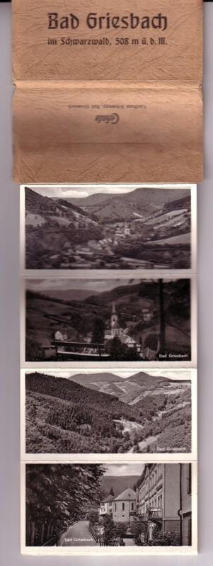 Bad Griesbach im Schwarzwald, 508 m ü. d. M. / Leporello mit insgesamt 9 s/w-Aufnahmen in OVP aus Pappe mit Laschenverschluss hinten / Bilder mit Motivbezeichnung: Bad Griesbach - Bad Griesbach - Bad Griesbach - Bad Griesbach - Hotel Adlerbad - Blick z... 0