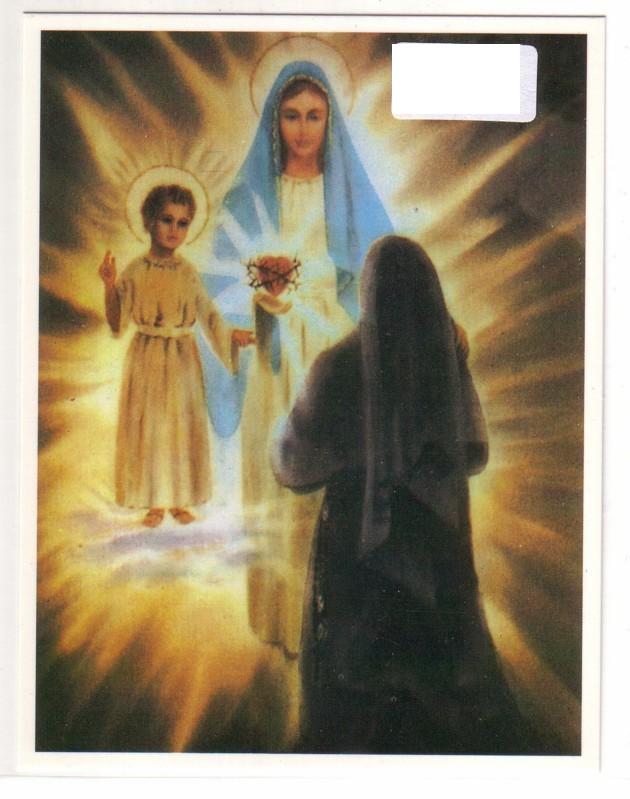 Heiligenbild / Erscheinung - Schwester Luzia - Heiligste Jungfrau und ein Kind in einer leuchtenden Wolke - Pontevedra - Rückseite mit Text/Informationen zur Erscheinung am 10. Dezember 1925 0