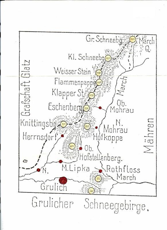 2 wohl selbst hergestellte Kartenansichten u.a. Grulicher Schneegebirge, Grafschaft Glatz, Grulich, Mähren und auf dem anderen Blatt Adler- und böhm. mähr. Grenzgebirge mit div. Ortschaften 0