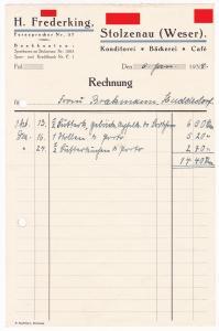 Rechnung H. Frederking, Konditorei Bäckerei Cafe, Stolzenau Weser 1938