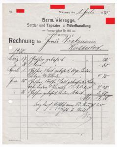 Rechnung Herm. Vieregge, Sattler und Tapezier, Möbelhandlung, Stolzenau 1920