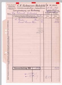 Rechnung C. F. Eickmeyer, Kolonialwarengroßhandlung und Kaffeegroßrösterei, Bielefeld 1937