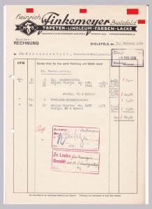 Rechnung Heinrich Finkemeyer, Tapeten Linoleum Farben Lacke, HFB, Bielefeld 1939