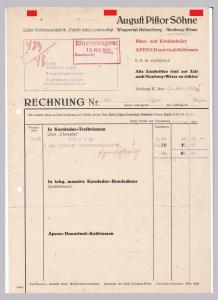 Rechnung August Pistor Söhne, Leder-Treibriemenfabrik, Fabrik techn. Lederartikel, Wuppertal-Hahnerberg und HIER: Nienburg Weser, 1944