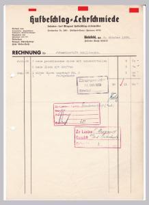 Rechnung Hufbeschlag-Lehrschmiede, Inhaber: Carl Wiegand Hufbeschlag-Lehrmeister, Bielefeld 1939